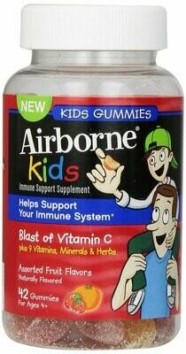 Airborne Kids Gummies Immune Support Supplement, Assorted Fruit Flavors, 42 Count