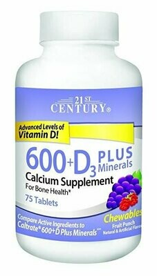 21st Century Calcium 600 mg +D Plus Minerals Chewable Tablets, 75 Count