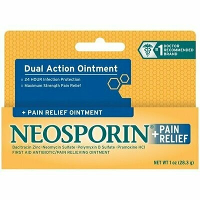 Neosporin First Aid Antibiotic Ointment Maximum Strength Pain Relief, 0.5-Ounce