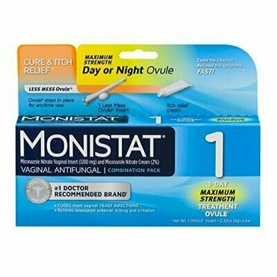 Monistat 1 Vaginal Antifungal Day or Night 1-Day Treatment Combination Pack