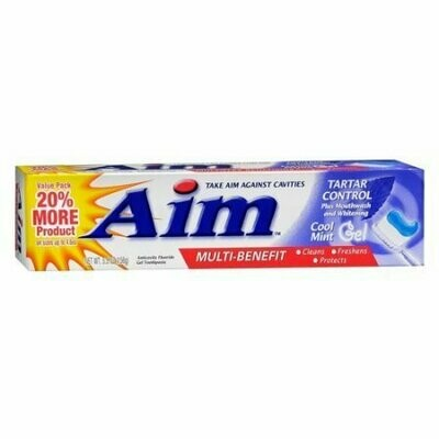 Aim Multi-Benefit Tartar Control Toothpaste, Cool Mint Gel, 5.5 Oz