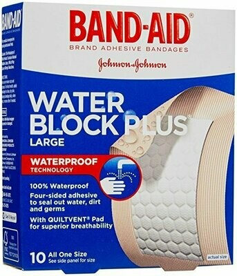 BAND-AID WATER BLOCK LARGE 10CT