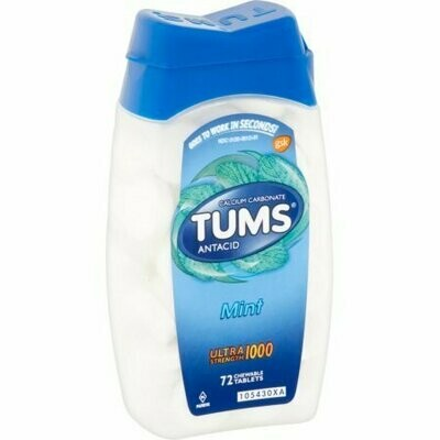 TUMS Ultra 1000 Maximum Strength Antacid Chewable Tablets, Peppermint 72 each