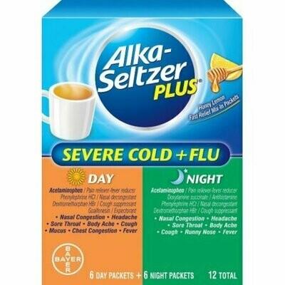 Alka-Seltzer Plus Severe Cold + Flu Day/Night Packets Powder, Honey Lemon 12 each