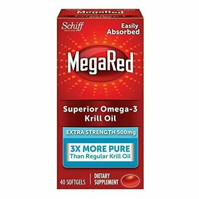 MegaRed 500mg Extra Strength Omega-3 Krill Oil, 40 Softgels
