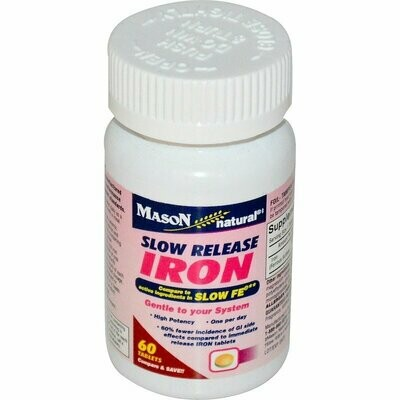 Mason Vitamins Slow Release Iron Compare to The Active Ingredients In Slow Fe, 60 Tablets