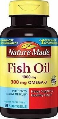 Nature Made Fish Oil 1000 mg w. Omega-3 300 mg Softgels 90 Ct
