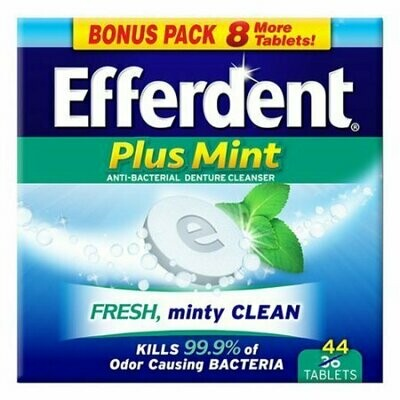 Efferdent Plus Mint Anti-Bacterial Denture Cleanser Tablets, Fresh Minty Clean - 44 Each