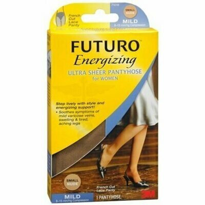 FUTURO Energizing Ultra Sheer Pantyhose For Women French Cut Lace Panty Mild Small Nude 1 Pair