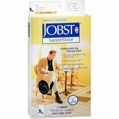 JOBST SupportWear Socks For Men Knee High 8-15 mmHg Black Medium 1 Pair