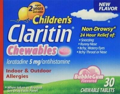 Claritin children's chewable tablets, bubble gum, 30 Count