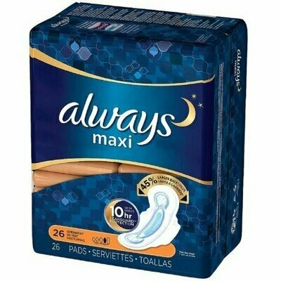 Always Maxi Overnight Pads with Flexi-Wings 26 each