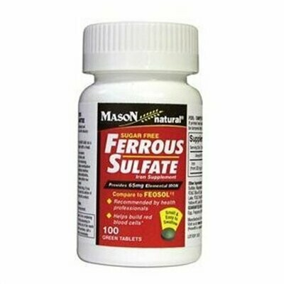 Mason Natural Ferrous Sulfate Iron Supplement Green Tablets Compare to Feosol - 100 Each