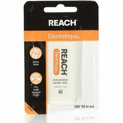 REACH Dentotape Waxed Tape, Unflavored 100 Yards