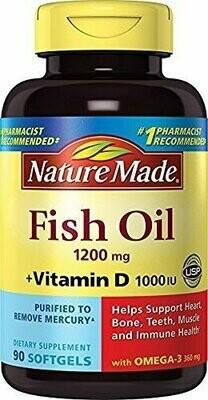 Nature Made Fish Oil 1,200 mg + Vit D 1,000 IU Softgels, 90 ct