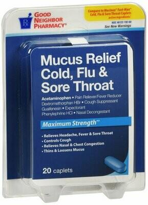 GNP MUCUS RELIEF COLD & FLU SORE THROAT 20CT