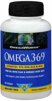 Omegaworks Omega 3.6.9, 60-Count Bottles
