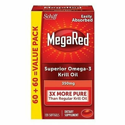 MegaRed 350mg Omega-3 Krill Oil - No Fishy Aftertaste as with Fish Oil, 120 Softgels