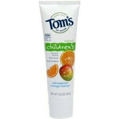 Tom's of Maine Children's Natural Fluoride Toothpaste, Outrageous Orange Mango 4.2 oz