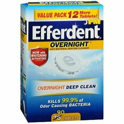 Efferdent PM Overnight Anti-Bacterial Denture Cleanser Tablets 90 each