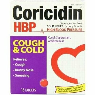Coricidin HBP Antihistamine Cough & Cold Suppressant Tablets, 16 Tablets