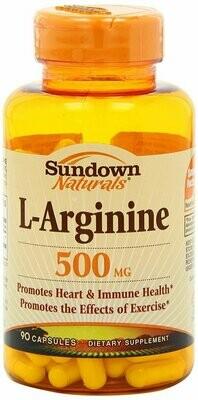 Sundown Naturals L-Arginine 500 mg, 90 Capsules