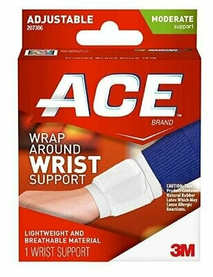 ACE Adjustable Wrap Around Wrist Brace, Moderate Support, One Size 1 Each