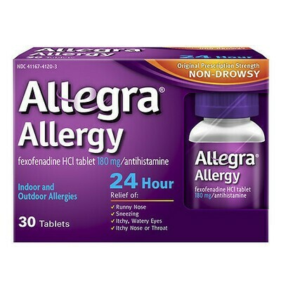 Allegra 24 Hour Allergy, 180mg Tablets, 45 ct.