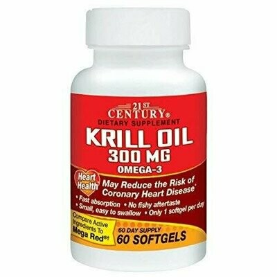 21st Century Healthcare, Krill Oil 300mg, 60 Softgels