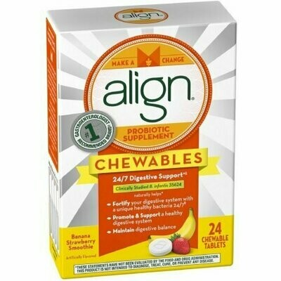 Align Probiotic Supplement Chewable Tablets, Banana Strawberry Smoothie 24 Tabs