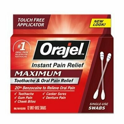 Orajel Maximum Strength Medicated Toothache Swabs, 12 Each