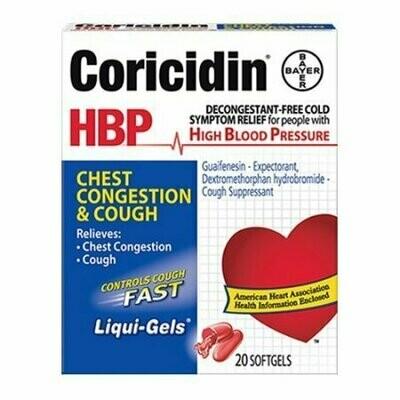 Coricidin HBP Chest Congestion & Cough Liquid Soft Gels, 20 each
