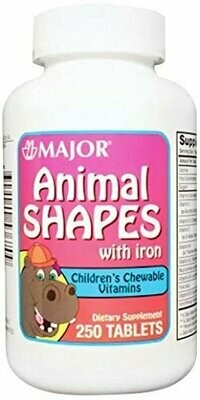 Animal Shapes Children's Chewable Vitamin Tablet with Iron, Compare to Flintstones (Pack of 250)