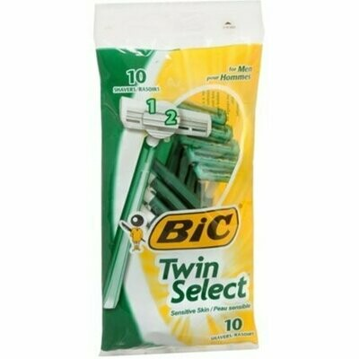 Bic Twin Select Shavers For Men Sensitive Skin 10 Each