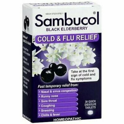 Sambucol Cold & Flu Relief Quick Dissolve Tablets, Black Elderberry 30 each