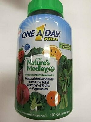 One A Day Kids Nature's Medley Complete Multivitamin, 110 Gummies