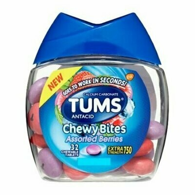 Tums Antacid Chewy Bites Assorted Berries Chewable Tablets, 32 Each