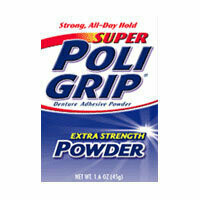 Super Poli-Grip Extra Strength Denture Adhesive Powder, 1.6 Oz