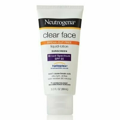 Neutrogena Clear Face Sunscreen Lotion, Spf 55 - 3 Oz