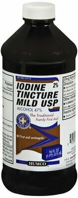 IODINE TINCTURE 2% MILD 16OZ HUMCO