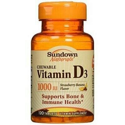 Sundown Naturals Vitamin D3 1000 IU Chewable Tablets 120 Tablets Each