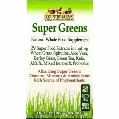 Country Farms Super Greens Natural Whole Food Supplement Veggie Capsules 60 each