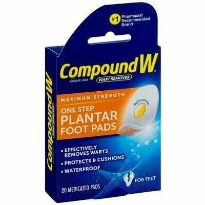 COMPOUND W ONE STEP PAD FOR FEET 20CT