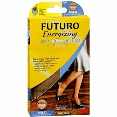FUTURO Energizing Ultra Sheer Pantyhose For Women French Cut Lace Panty Mild Medium Nude 1 Pair