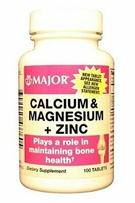 MAJOR CALCIUM/MAGNESIUM/ZINC TABS CALCIUM CARBONATE-334 MG White 100 TABLETS