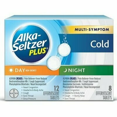 Alka Seltzer Day & Night Cold Medicine Effervescent Tablets with Pain Reliever/Fever Reducer 20 each