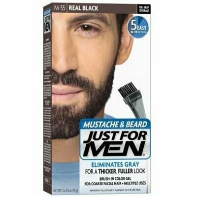 JUST FOR MEN Color Gel Mustache & Beard, M-55 Real Black 1 each
