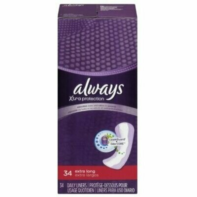 Always Xtra Protection Daily Liners, Extra Long 34 each