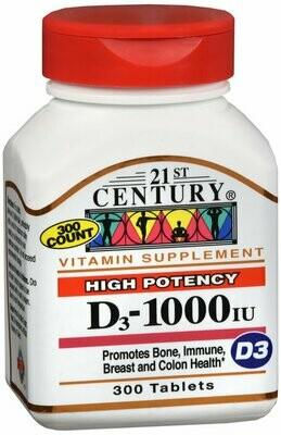 21ST CENTURY VITAMIN D 1000IU TABLET 300CT