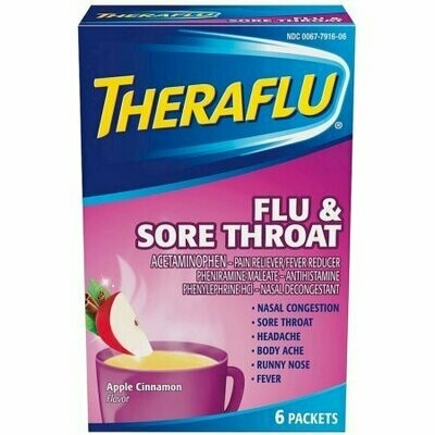 Theraflu Flu & Sore Throat Powder, Apple Cinnamon Flavor 6 each